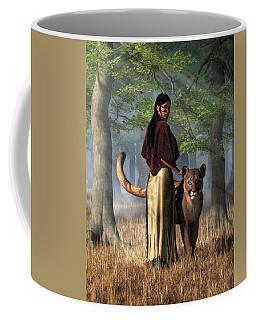 Woman With Mountain Lion Coffee Mug by Daniel Eskridge