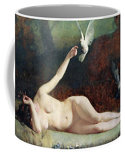 Woman With Pigeons Coffee Mug