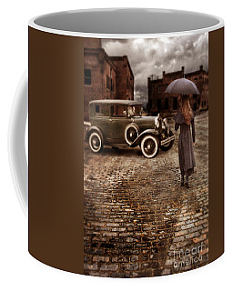 Woman With Umbrella By Vintage Car Coffee Mug