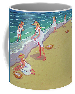Women Beach Seashells - Sisters Of The Sea Coffee Mug by Rebecca Korpita