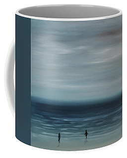 Coffee Mug featuring the painting Women On The Beach by Tone Aanderaa