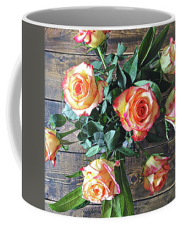 Wood And Roses Coffee Mug