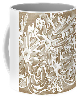 Wood And White Floral- Art By Linda Woods Coffee Mug by Linda Woods