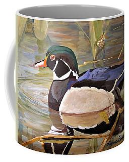 Wood Duck On Pond Coffee Mug
