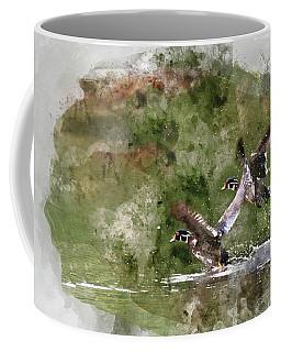 Wood Ducks In Flight Coffee Mug