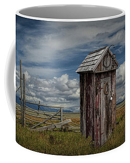 Wood Outhouse Out West Coffee Mug by Randall Nyhof