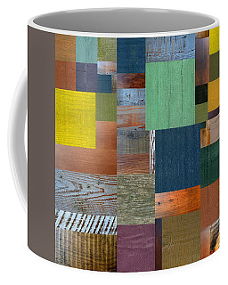 Coffee Mug featuring the digital art Wood With Teal And Yellow by Michelle Calkins