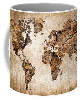 Wood World Map Coffee Mug