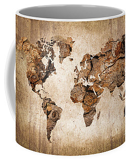 Wood World Map Coffee Mug by Delphimages Photo Creations