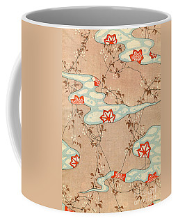 Woodblock Print Of Fall Leaves Coffee Mug
