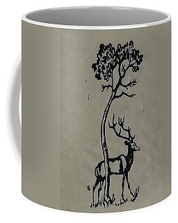 Woodcut Deer Coffee Mug by Shirley Heyn