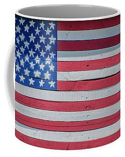 Coffee Mug featuring the photograph Wooden American Flag by Bill Cannon