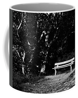 Wooden Bench In B/w Coffee Mug