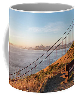 Wooden Bench Overlooking Downtown San Francisco With The Golden  Coffee Mug