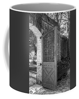 Wooden Garden Door B W Coffee Mug