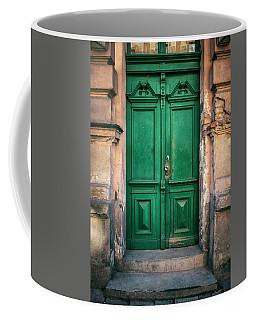Wooden Ornamented Gate In Green Color Coffee Mug by Jaroslaw Blaminsky
