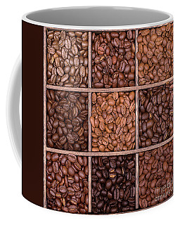 Wooden Storage Box Filled With Coffee Beans Coffee Mug