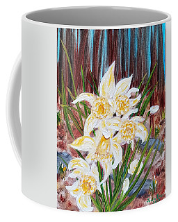 Coffee Mug featuring the painting Woodland Daffodils by Judith Rhue