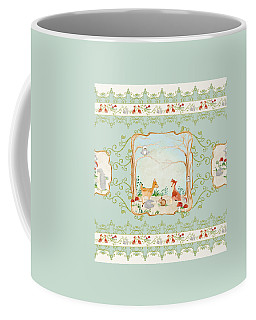 Woodland Fairy Tale - Aqua Blue Forest Gathering Of Woodland Animals Coffee Mug