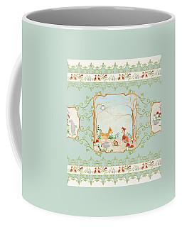 Woodland Fairy Tale - Aqua Blue Forest Gathering Of Woodland Animals Coffee Mug by Audrey Jeanne Roberts