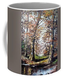 Coffee Mug featuring the painting Woodland Pond  by Lee Piper