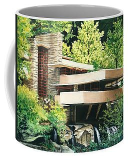 Coffee Mug featuring the painting Fallingwater-a Woodland Retreat By Frank Lloyd Wright by Barbara Jewell