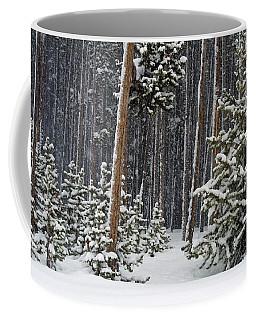 Woodland Snowstorm In Yellowstone Coffee Mug