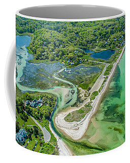 Coffee Mug featuring the photograph Woodneck Beach At 400 Feet by Michael Hughes