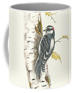 Coffee Mug featuring the painting Woodpecker by Darren Cannell