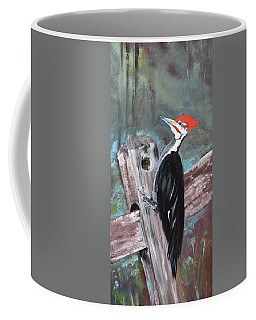 Coffee Mug featuring the painting Woody - The Pileated Woodpecker by Jan Dappen