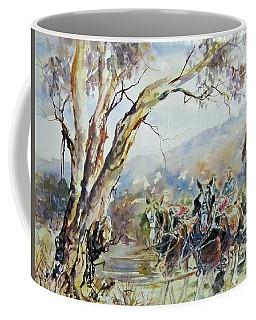 Working Clydesdale Pair, Australian Landscape. Coffee Mug