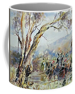 Working Clydesdale Pair, Australian Landscape. Coffee Mug