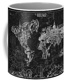 World Map Blueprint 2 Coffee Mug by Bekim Art