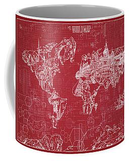 World Map Blueprint 3 Coffee Mug by Bekim Art