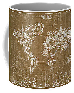 World Map Blueprint 4 Coffee Mug by Bekim Art
