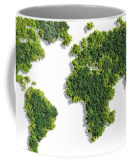 World Map Made Of Green Trees Coffee Mug