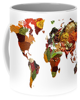 World Map Of Spices And Herbs  Coffee Mug