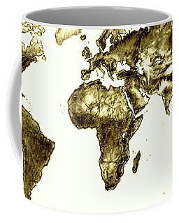 Coffee Mug featuring the drawing World Map Vintage by Heidi Kriel