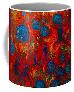 Coffee Mug featuring the painting World Soccer Dreams 2 by Claire Bull