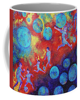 Coffee Mug featuring the painting World Soccer Dreams by Claire Bull
