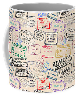 Coffee Mug featuring the mixed media World Traveler Passport Stamp Pattern - Antique White by Mark Tisdale