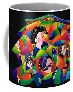 Coffee Mug featuring the painting Worlds Within Worlds by Val Stokes