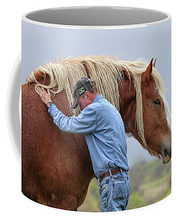 Coffee Mug featuring the photograph Wrangler Jeans And Belgian Horse by Robert Bellomy
