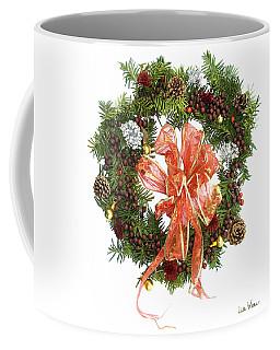 Coffee Mug featuring the digital art Wreath With Bow by Lise Winne
