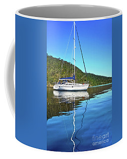Coffee Mug featuring the photograph Yacht Reflecting By Kaye Menner by Kaye Menner