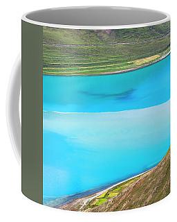 Coffee Mug featuring the photograph Yamdrok Abstract 1, Tibet, 2007 by Hitendra SINKAR