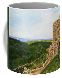 Coffee Mug featuring the painting Yehiam Fortress by Linda Feinberg