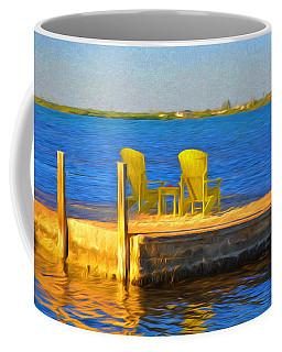 Yellow Adirondack Chairs On Dock In Florida Keys Coffee Mug