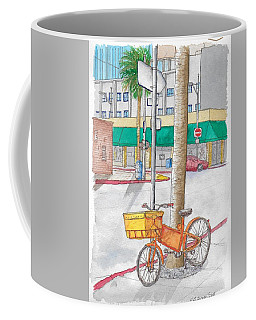 Yellow And Orange Bicycle In Beverly Hills, California Coffee Mug
