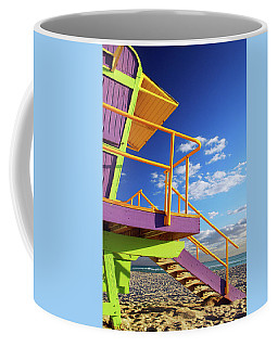 Yellow And Purple At The Beach Coffee Mug by James Kirkikis